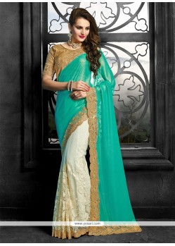 Off White Patch Border Work Faux Chiffon Classic Saree