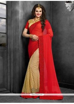 Pretty Georgette Red Saree