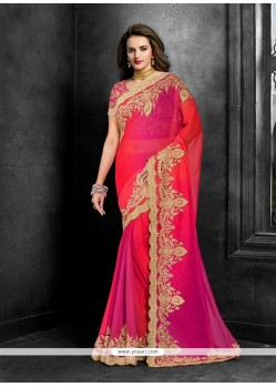 Suave Faux Chiffon Magenta Classic Designer Saree