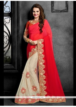 Pleasance Faux Chiffon Red Patch Border Work Designer Saree