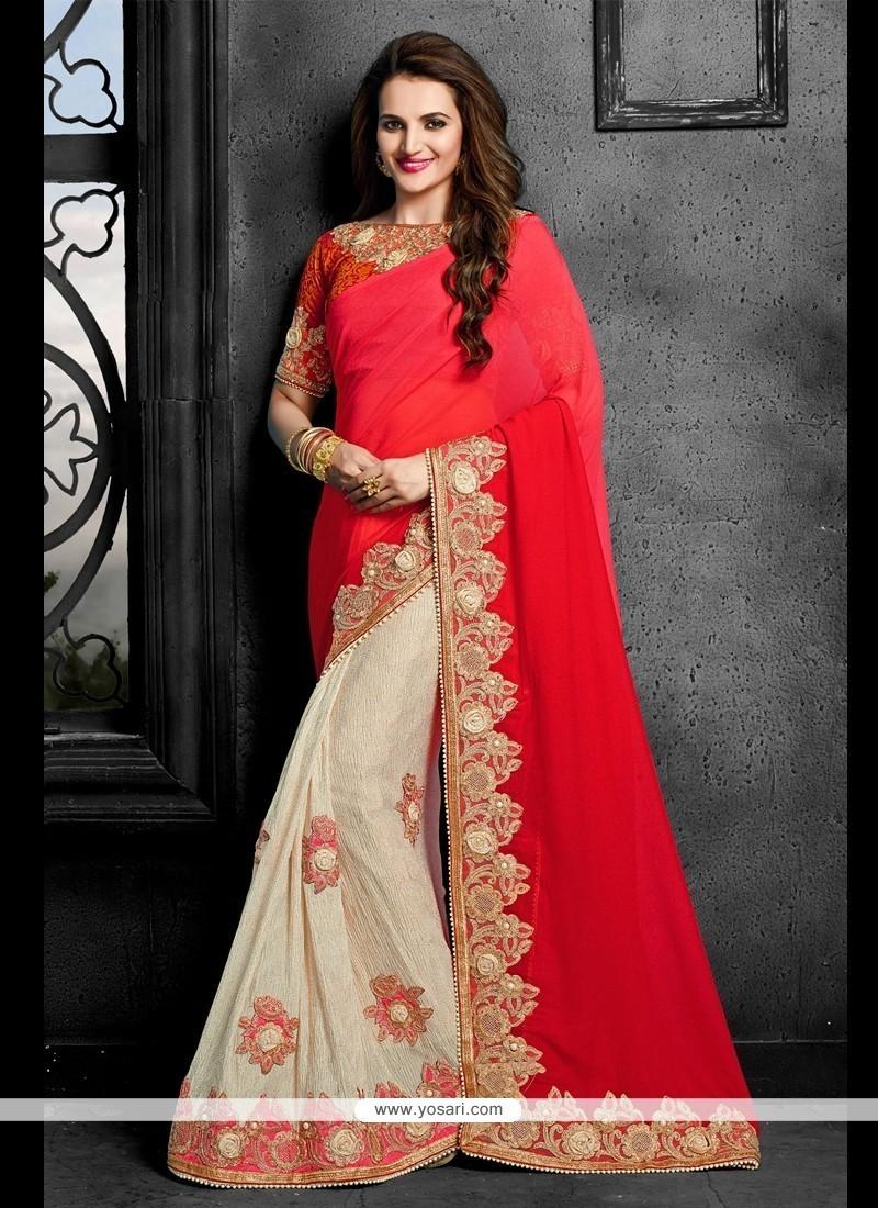 Pleasance Faux Chiffon Red Patch Border Work Designer Saree
