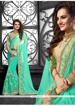 Divine Sea Green Patch Border Work Classic Designer Saree