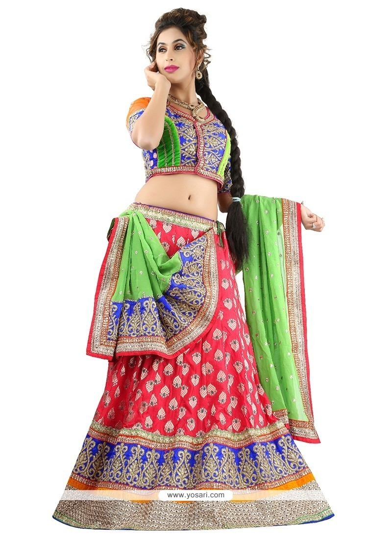 Imperial Peach Embroidered Work Silk A Line Lehenga Choli