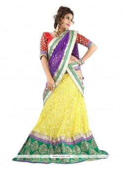 Embroidered Net Designer Lehenga Choli In Yellow