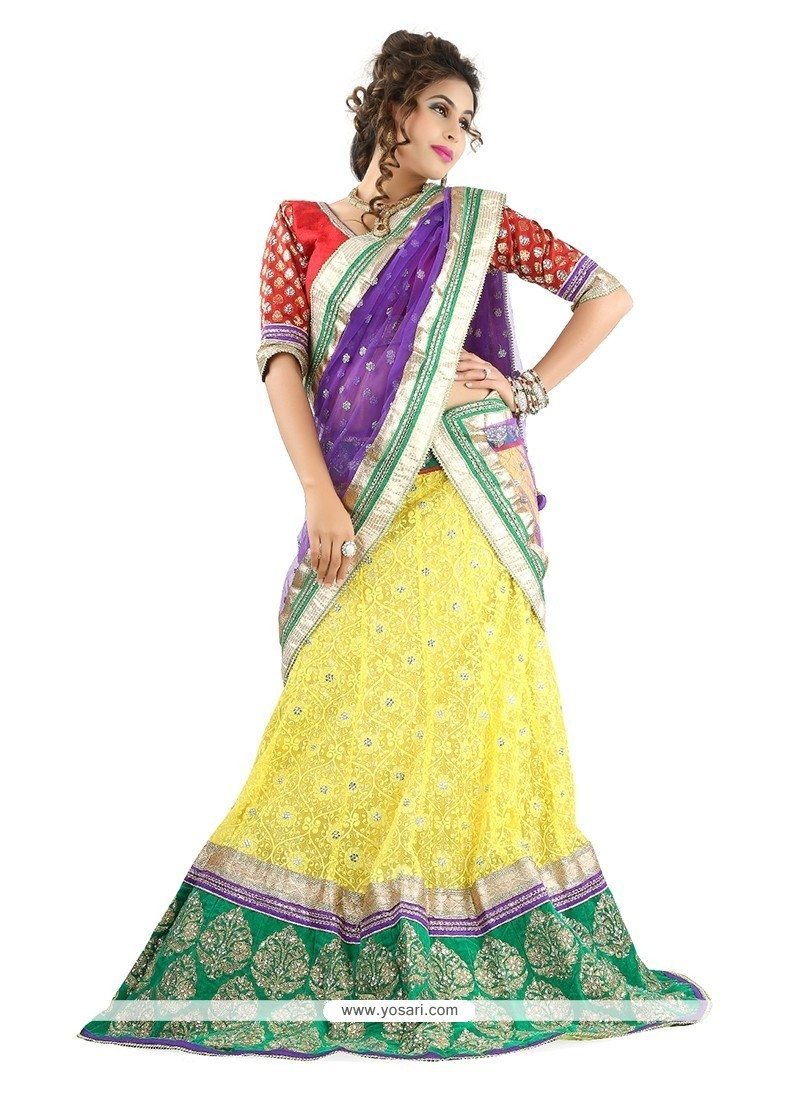 Embroidered Net Designer Lehenga Choli In Yellow