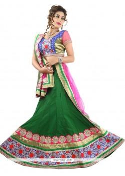 Sensible Green Embroidered Work Silk A Line Lehenga Choli