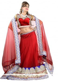 Red Patch Border Work A Line Lehenga Choli