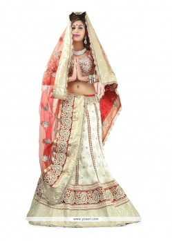Exceeding Off White Patch Border Work Georgette Designer Lehenga Choli