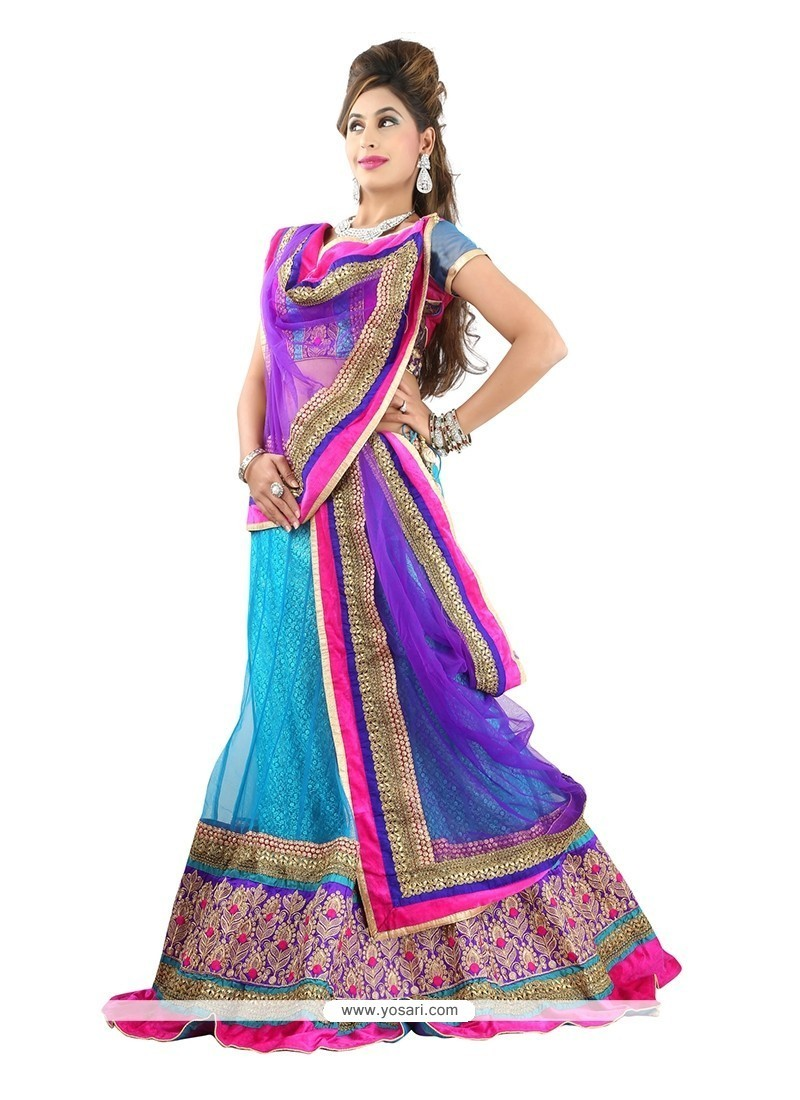Impeccable Net Blue Designer Lehenga Choli