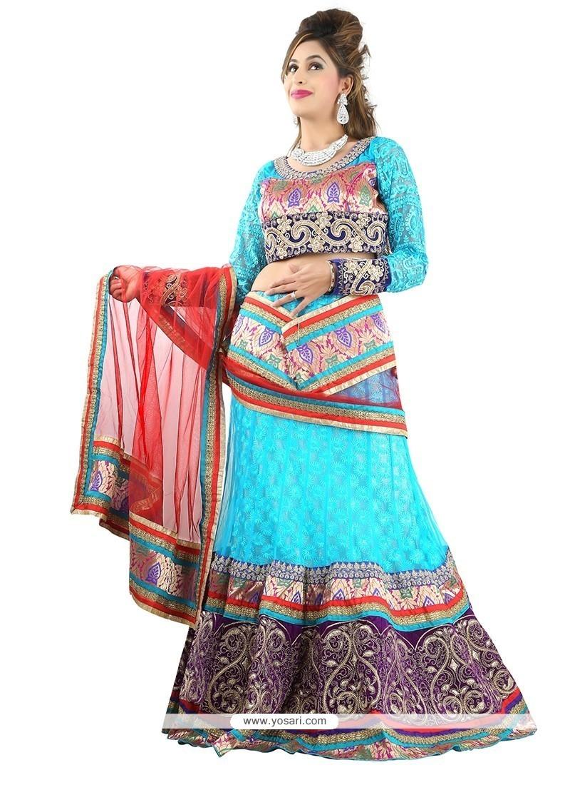 Spellbinding Net Turquoise Designer Lehenga Choli
