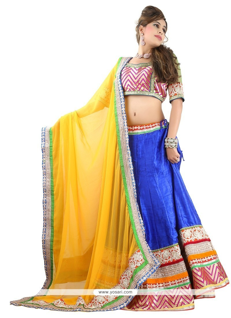 Intricate Blue Patch Border Work Designer Lehenga Choli