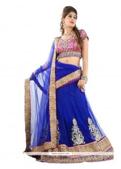Invigorating Net Blue A Line Lehenga Choli