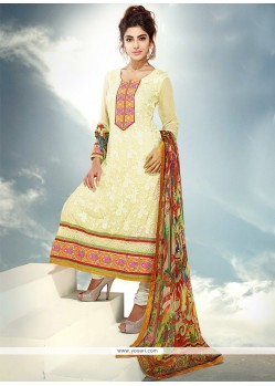 Yellow Pure Chiffon Churidar Suit