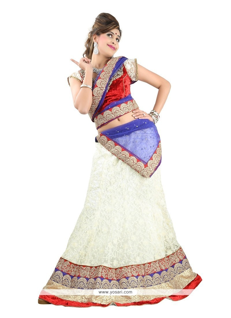Embroidered Net A Line Lehenga Choli In Off White