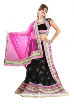 Perfect Black Patch Border Work Net A Line Lehenga Choli