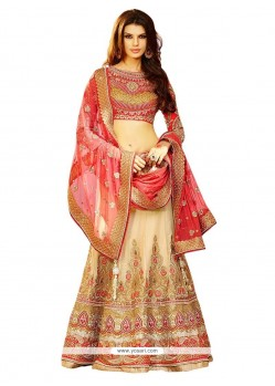 Preferable Beige Patch Border Work Silk A Line Lehenga Choli