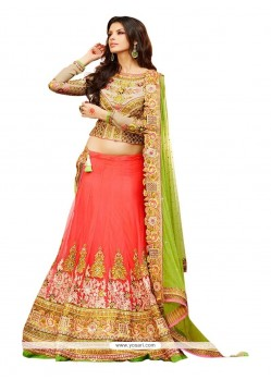 Girlish Peach Embroidered Work Net A Line Lehenga Choli