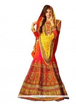 Grandiose Yellow Silk A Line Lehenga Choli