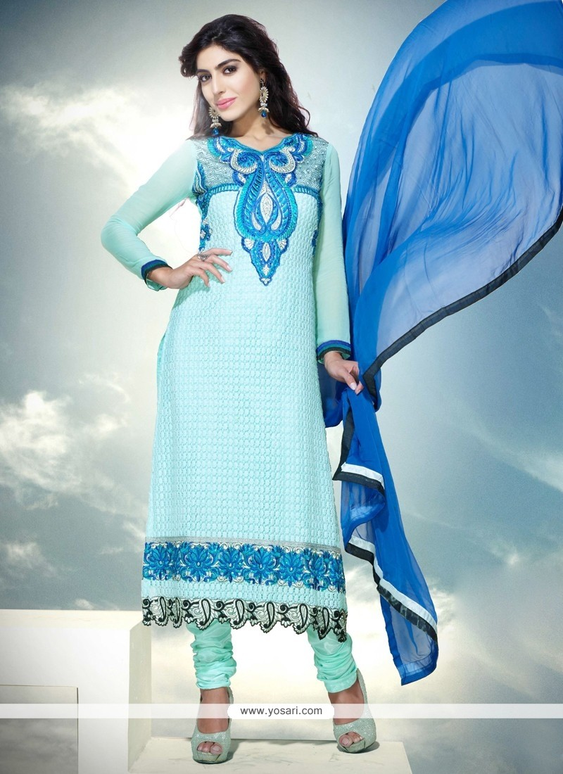 Turquoise Blue Viscose Churidar Suit