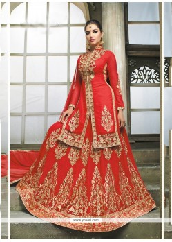 Delightful Embroidered Work Red A Line Lehenga Choli