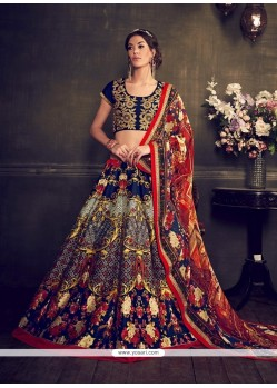 Fab Multi Colour Print Work Banglori Silk Designer Lehenga Choli