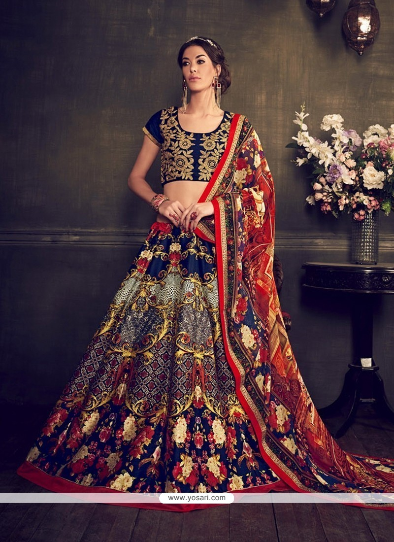 ac3003bd66 Buy Fab Multi Colour Print Work Banglori Silk Designer Lehenga Choli ...