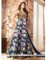 Staring Banarasi Silk Patch Border Work Designer Floor Length Suit