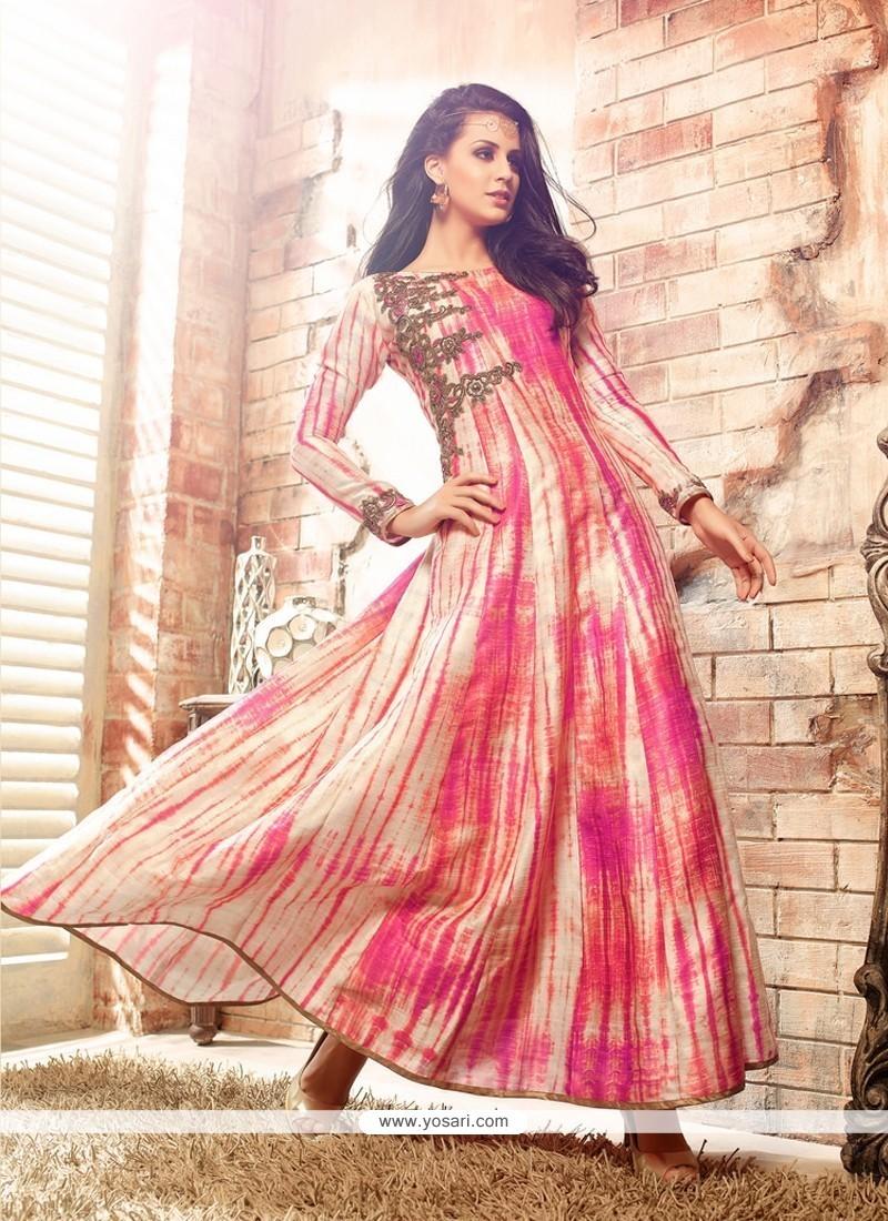Splendid Embroidered Work Multi Colour Anarkali Salwar Kameez