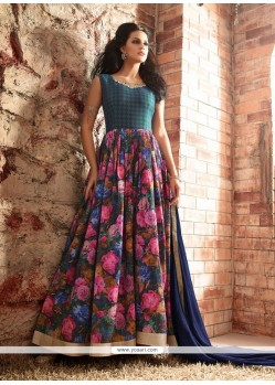 Heavenly Patch Border Work Multi Colour Designer Floor Length Suit