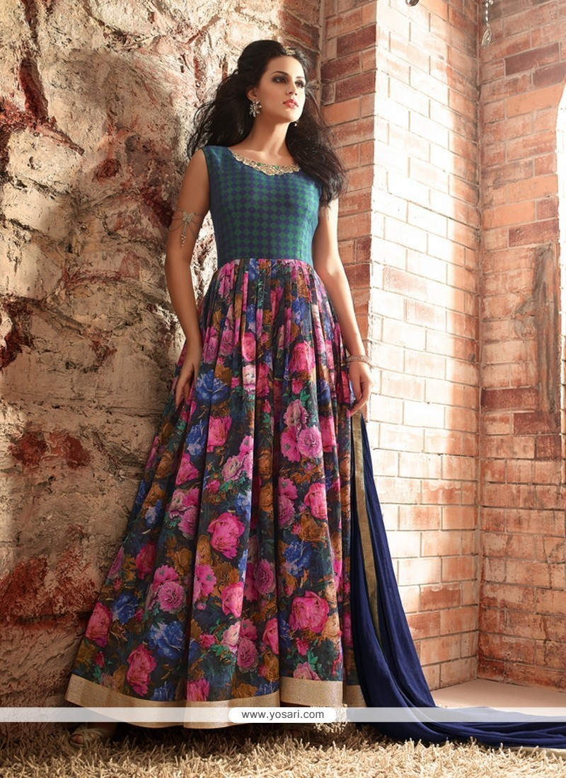 Buy heavenly patch border work multi colour designer floor for Floor length kurti