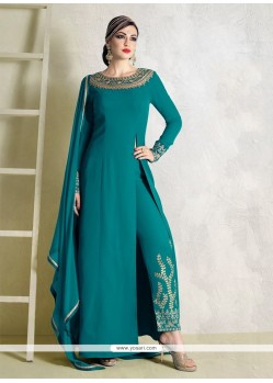 Mystical Fancy Fabric Embroidered Work Pant Style Suit