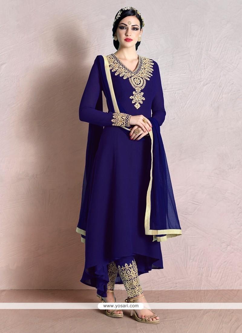 Impeccable Georgette Purple Pant Style Suit