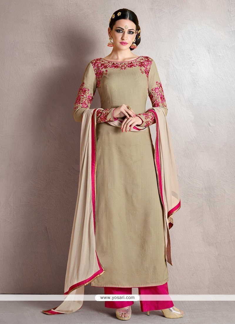 Splendid Georgette Grey Resham Work Designer Palazzo Salwar Suit