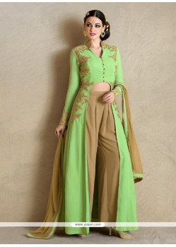 Aesthetic Embroidered Work Georgette Green Designer Palazzo Salwar Suit