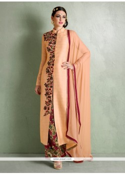 Tantalizing Embroidered Work Bhagalpuri Silk Peach Designer Palazzo Salwar Suit