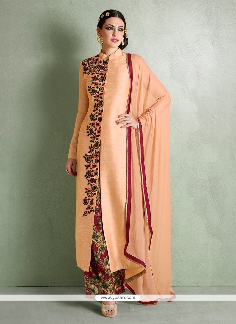 Tantalizing Embroidered Work Bhagalpuri Silk Peach Designer Palazzo Salwar Suit