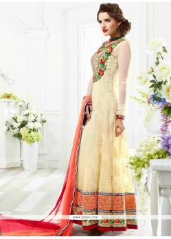 Off White Dotted Net Anarkali Salwar Suit