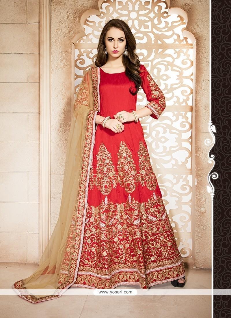4dd5ff70bb Buy Marvelous Red Banglori Silk Designer Floor Length Suit Online : Fiji