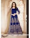 Lovable Banglori Silk Blue Resham Work Designer Floor Length Suit