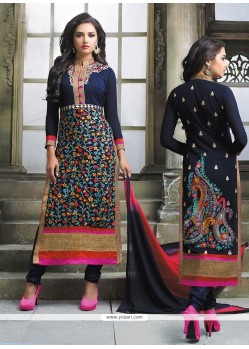 Unique Multi Colour Embroidered Work Churidar Designer Suit