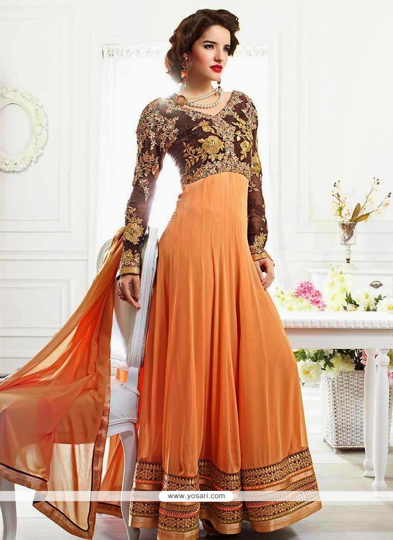 Peach And Orange Shaded Anarkali Suit