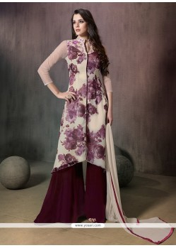 Classy Embroidered Work Cream Georgette Designer Palazzo Salwar Suit