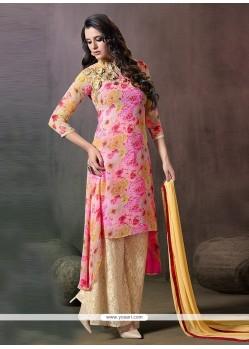 Miraculous Pink Designer Palazzo Salwar Kameez