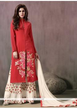 Elite Print Work Red Georgette Designer Palazzo Salwar Suit