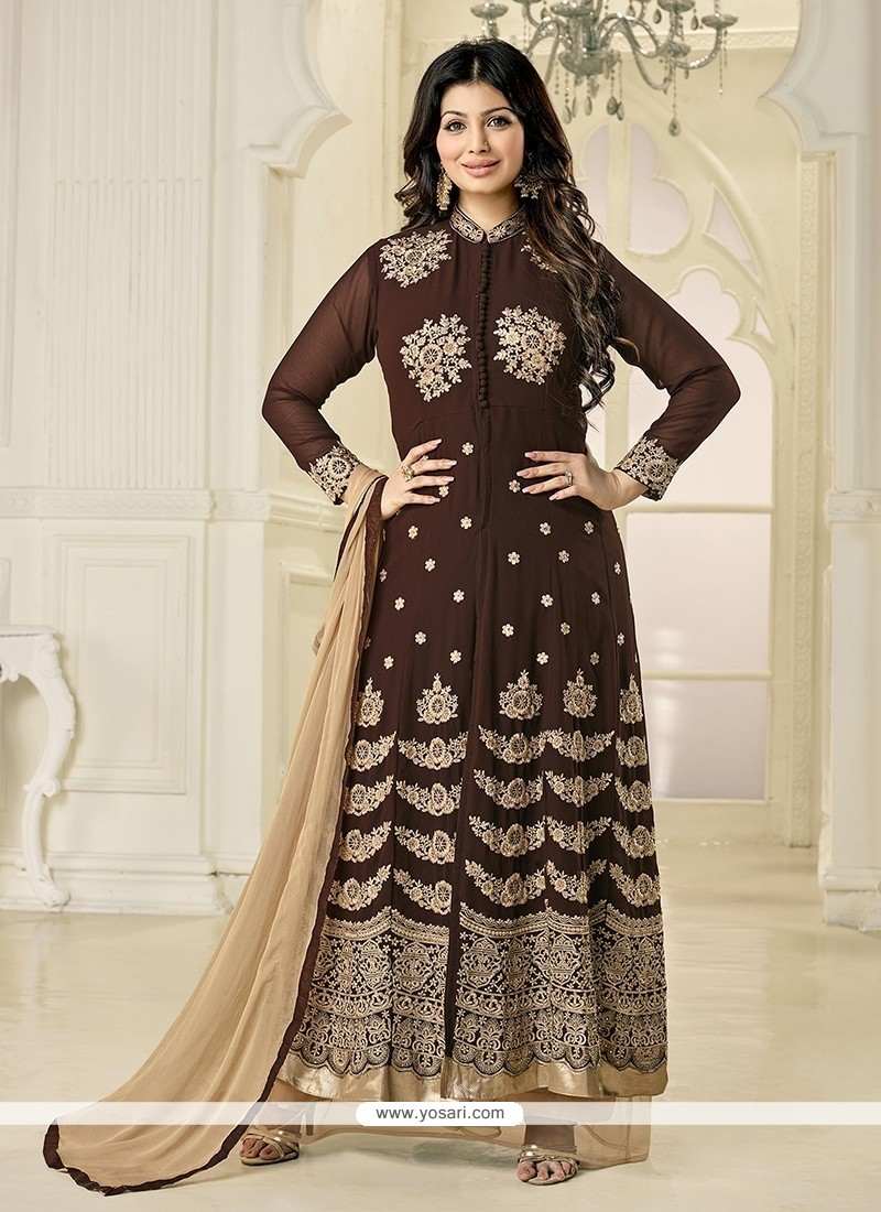 9e3bb5582c Buy Ayesha Takia Brown Anarkali Salwar Kameez Online : India