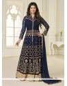 Ayesha Takia Net Embroidered Work Navy Blue Designer Floor Length Suit