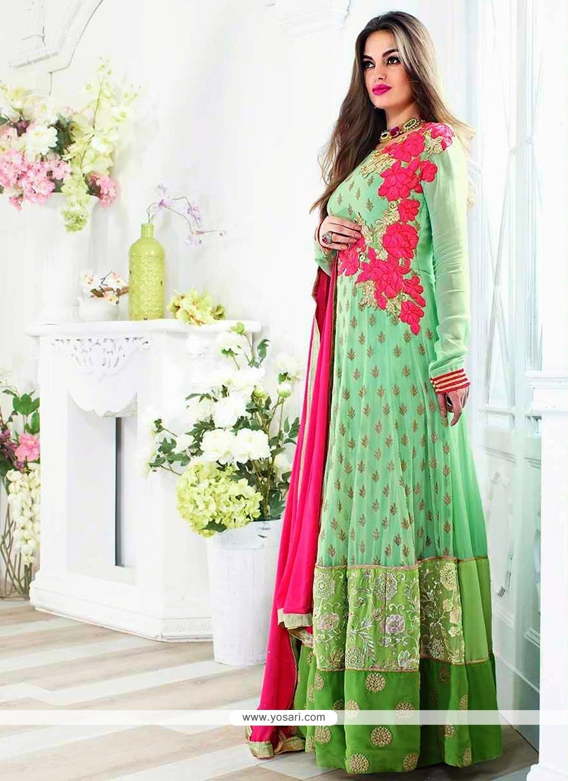 Sea Green Viscose Georgette Anarkali Suit