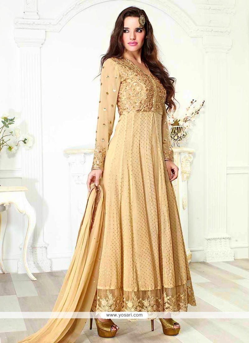 Natural Cream Viscose Georgette Anarkali Suit