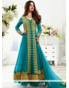 Blue Jacquard Net Anarkali Suit
