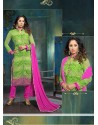 Sangita Ghose Green Georgette Churidar Suit